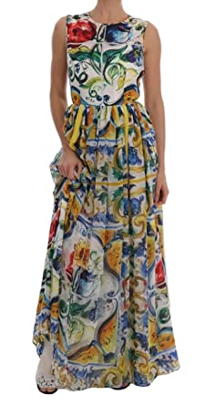 930bfcc54a Image Unavailable. Image not available for. Color: Dolce & Gabbana Majolica  Print Silk A-line Maxi Dress White