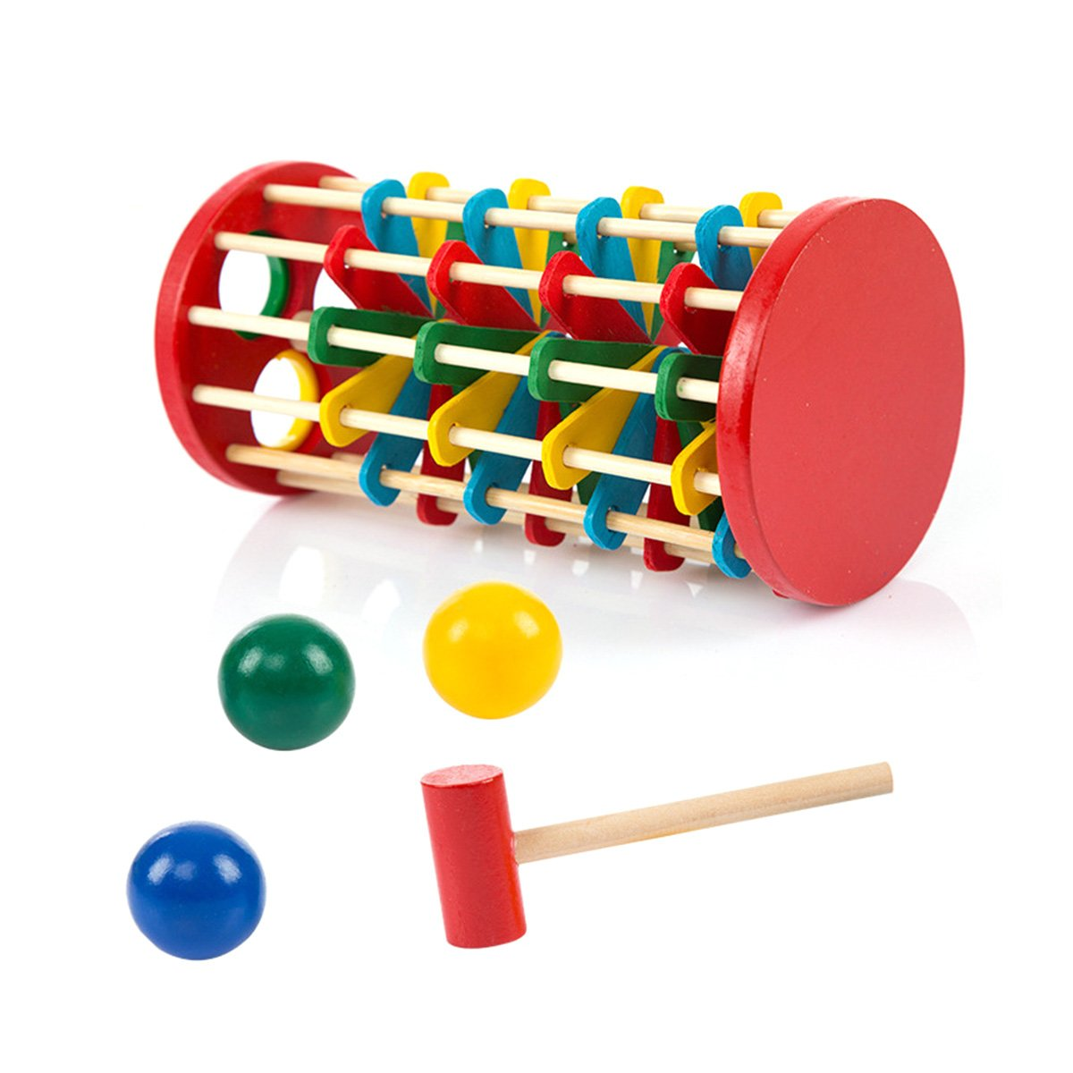 TOYMYTOY Pound and Roll Wooden Tower Toy with Hammer Knock The Ball Off Ladder Kids Children Early Educational Toys