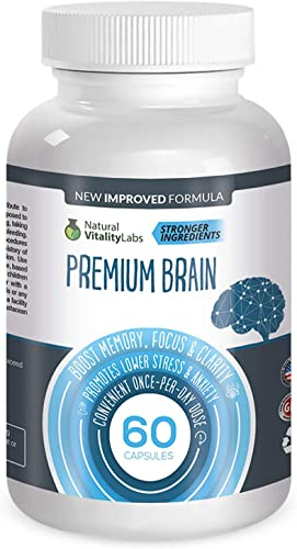 Premium Brain Boosts Memory, Focus, Clarity 60 Capsules. Soothes Stress, Anxiety. Stronger Natural Ingredients Ginko Biloba, St. John s Wart, Glutamine, Bacopin. Made in USA