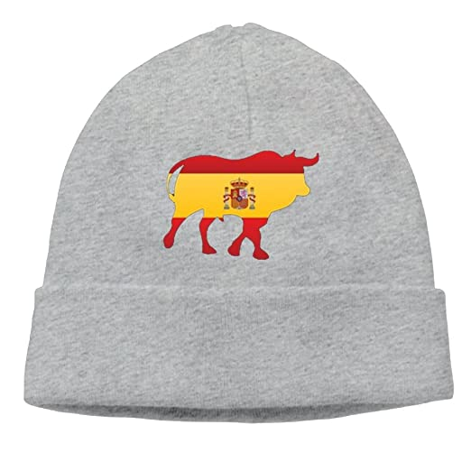 Bull with Espana Flag Cable Knit Skull Caps Thick Soft   Spring Autumn  Winter Beanie Hats for Women   Men Cotton Hat Unisex Cap at Amazon Men s  Clothing ... a90500ecd028