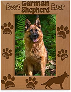 Best German Shepherd Ever Picture Frame, Dog Lover Gifts, New Puppy Gifts, Memorial Gifts, Dog Photo Frame with Paws, Engraved Natural Wood Picture Frame (5x7-Vertical)