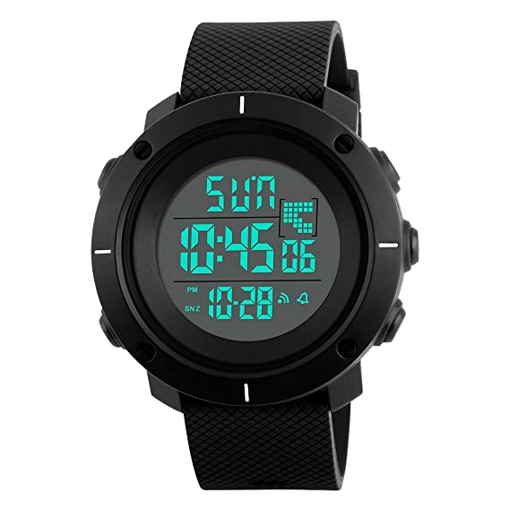 amstt Joven Militar Deporte Reloj digital LED 50 m resistente al agua reloj de pulsera Hombres Cronómetro Relojes Negro esfera reloj banda: Amazon.es: ...
