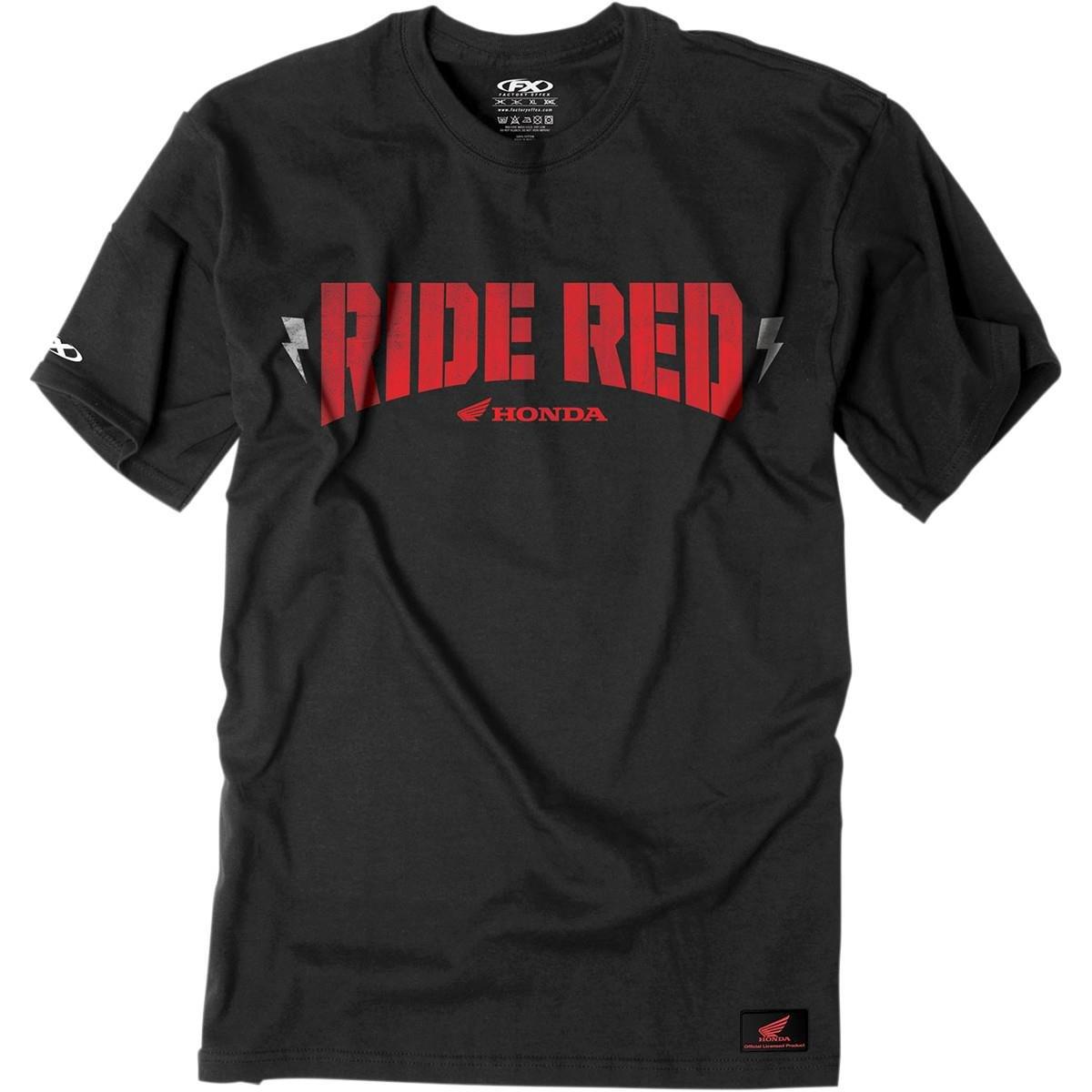 Black, Medium Factory Effex 16-88320 Honda Ride Red Bolt T-Shirt
