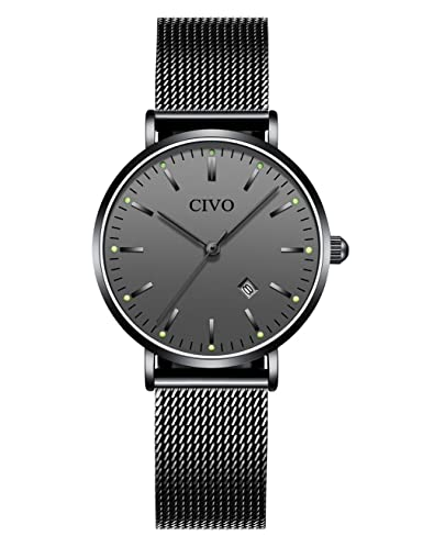 99e76d4e49e CIVO Womens Watches Ladies Black Fashion Ultra Thin Waterproof Stainless  Steel Mesh Wrist Watch Date Calendar Business Luxury Dress Casual Analogue  Quartz ...