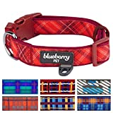 Blueberry Pet 7 Patterns Soft & Comfy Scottish Aileen Red Plaid Tartan Style Designer Padded Dog Collar, Large, Neck 18'-26', Adjustable Collars for Dogs