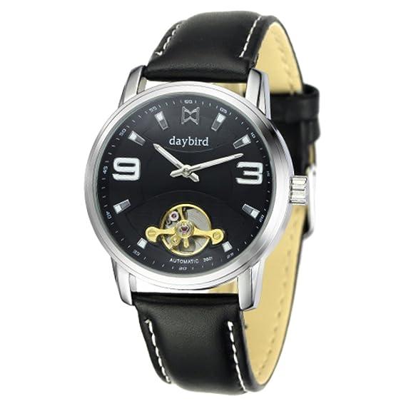 reloj del negocio de los relojes mecánicos de los hombres/A prueba de agua reloj mecánico automático hueco-B: Amazon.es: Relojes