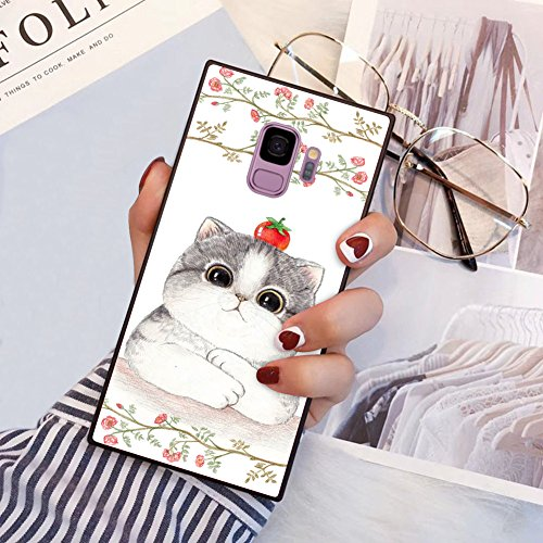 (Cute Cat Tomato Square Phone Case Cover for Samsung Galaxy S9 TPU Wrapped Edges and Hard PC Back 360 Degree Full Body Protection)