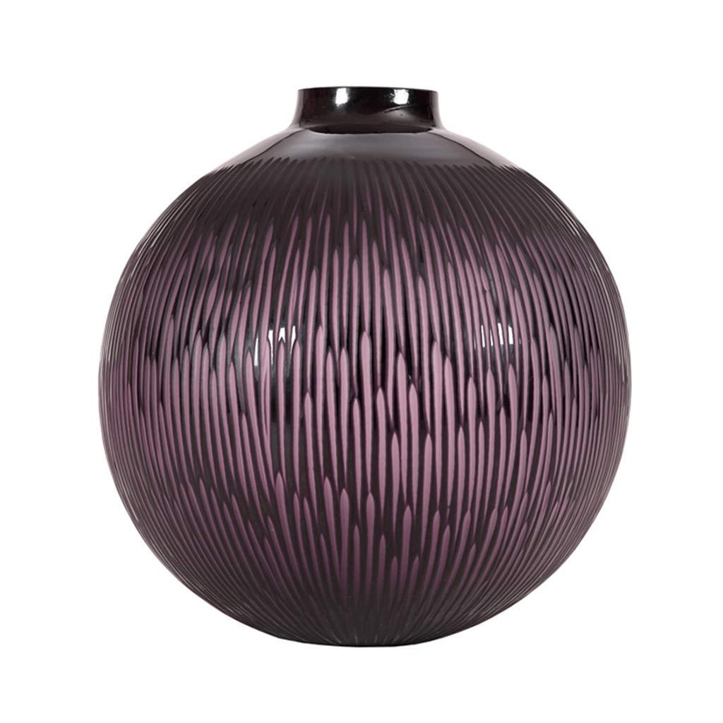 フラワーベース花器 花瓶丸縞模様のガラスのデザイン三次元球形の瓶居間の研究用装飾フラワーコンテナの工芸品視覚的向上 (Color : Purple, Size : 30*31cm) B07SGW9STX Purple 30*31cm