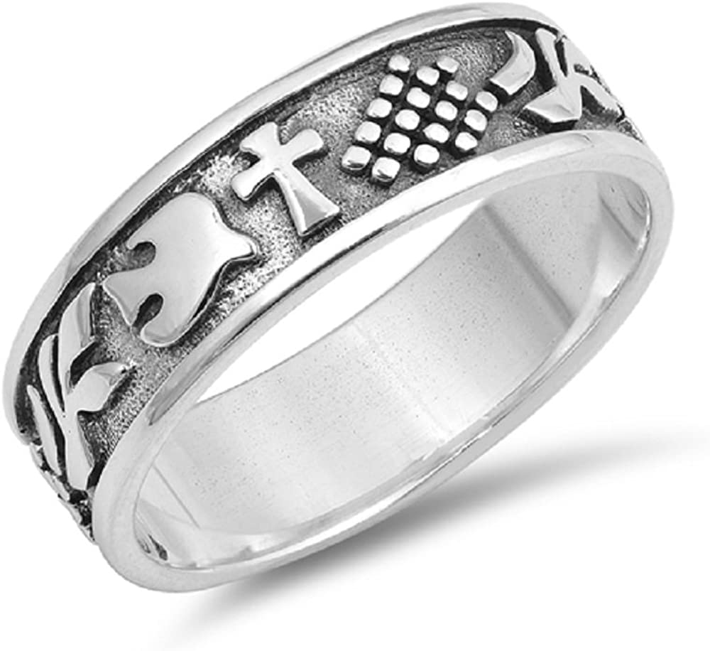 CloseoutWarehouse Sterling Silver Grave Cross Ring