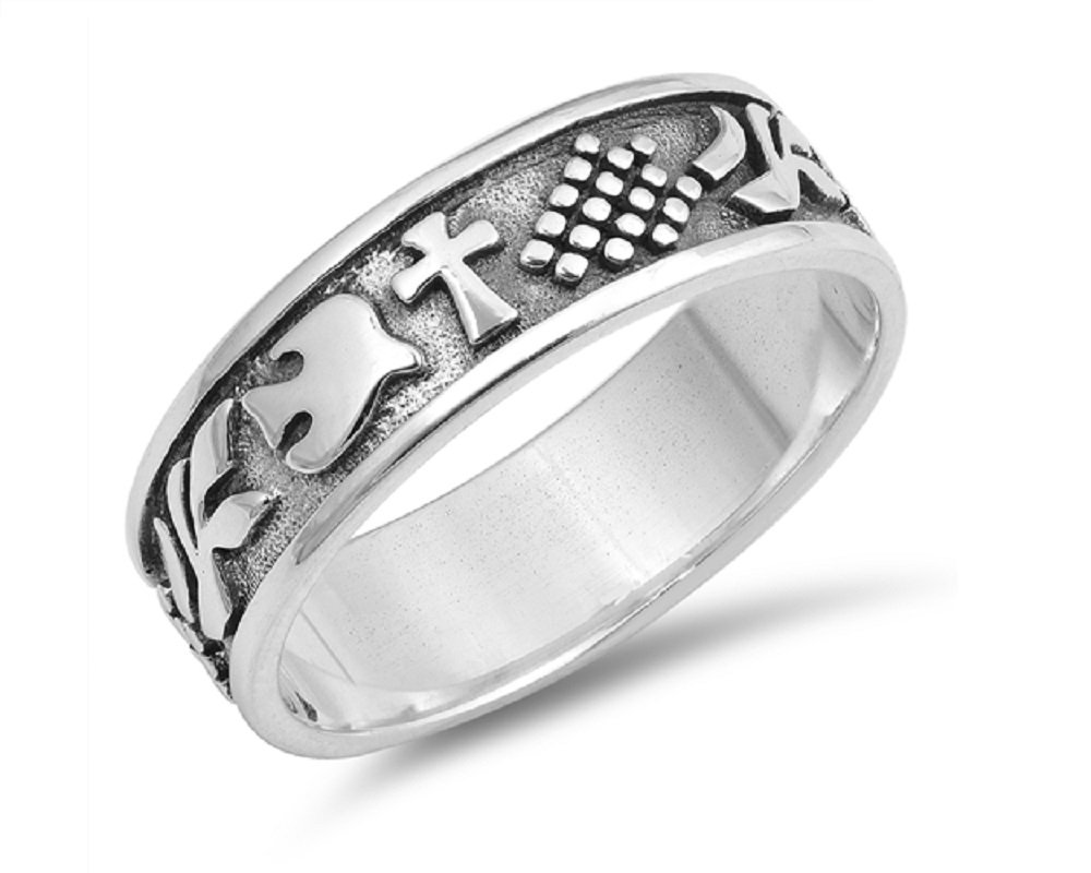 CloseoutWarehouse Sterling Silver Designer Cross And Dove Ring Size 6