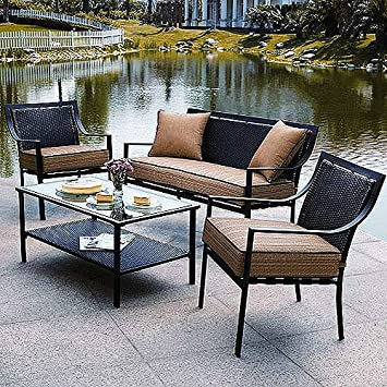 Braddock 4 Piece Patio Furniture Conversation Set, Seats 4