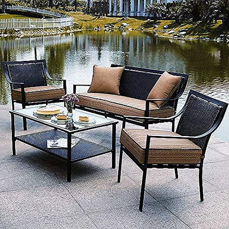Braddock 4 Piece Patio Furniture Conversation Set, Seats 4