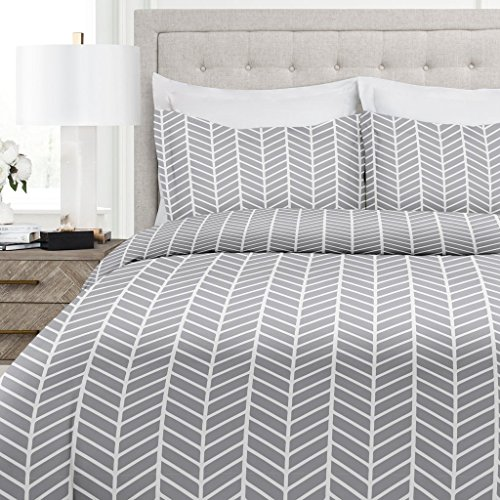 Italian Luxury Herringbone Pattern Duvet Cover Set - 3-Piece Ultra Soft Double Brushed Microfiber Printed Cover with Shams - Full/Queen - Light (Duvet Sham)