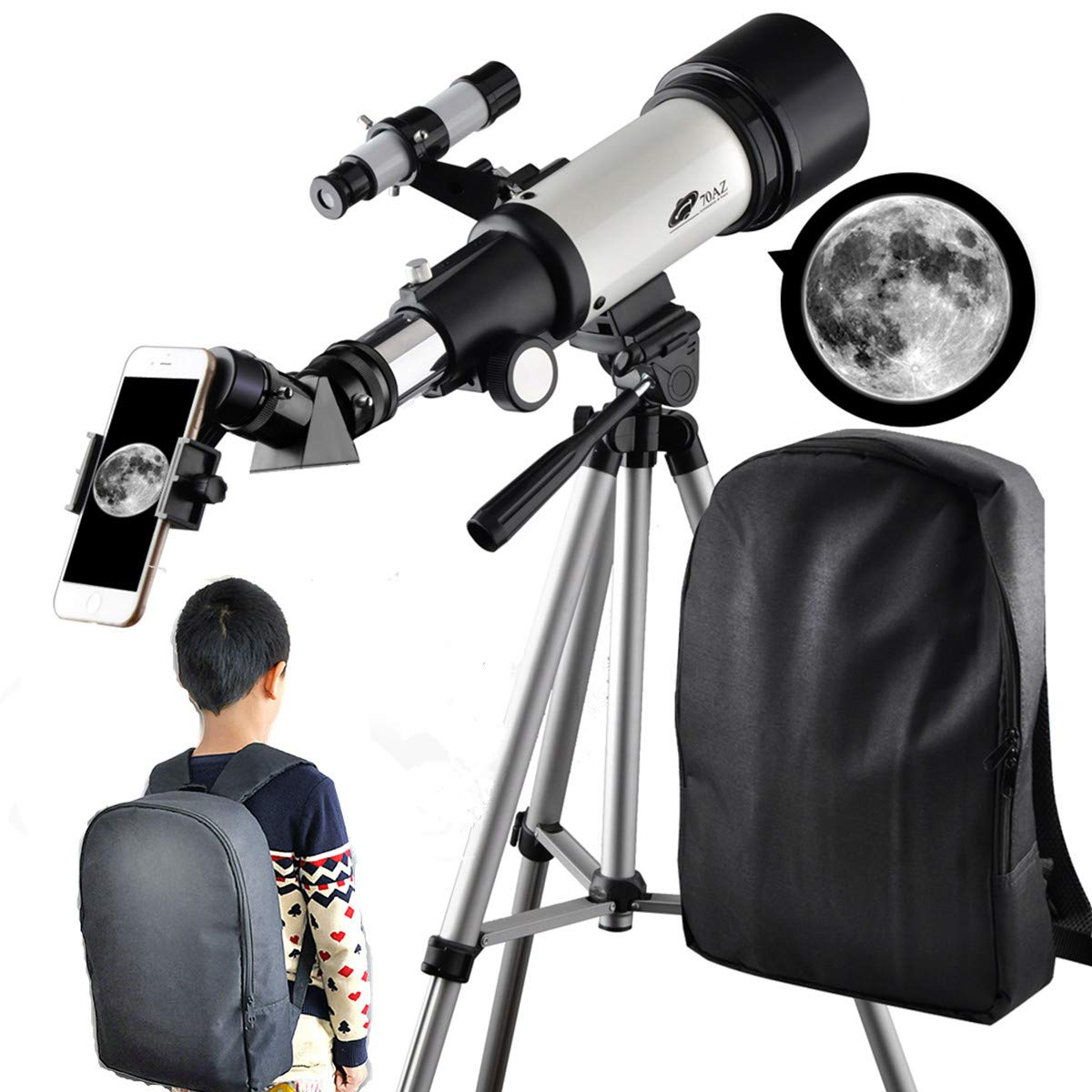 Telescope for Kids 70mm Apeture Travel Scope 400mm AZ Mount - Good Partner to View Moon and Planet - Good Travel Telescope with Backpack for Kids and Beginners by SOLOMARK