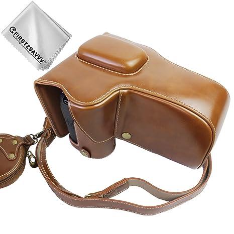 First2savvv marrón Calidad premium Funda Cámara cuero de la ...