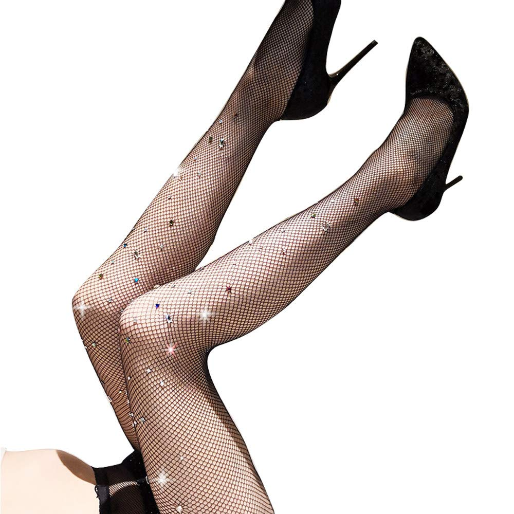ZINSPIRE High Waist Fishnet socks Rhinestone Pantyhose Tights