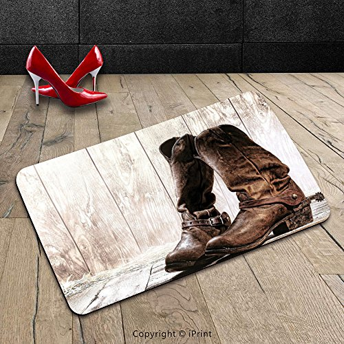 Custom Machine-washable Door Mat Western Decor Pair of Roper Style Rodeo Boots with Ranching Spurs Riding on Oak Deck Artwork Brown Indoor/Outdoor Doormat Mat Rug Carpet - Oak Turntable