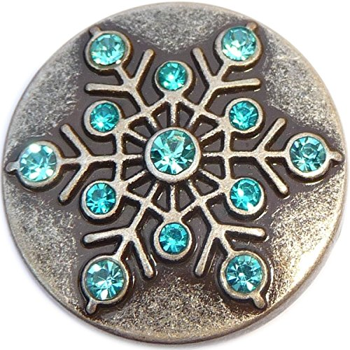 Aqua Snowflake - Aqua Snowflake Snap Charm (Standard 18mm Size)
