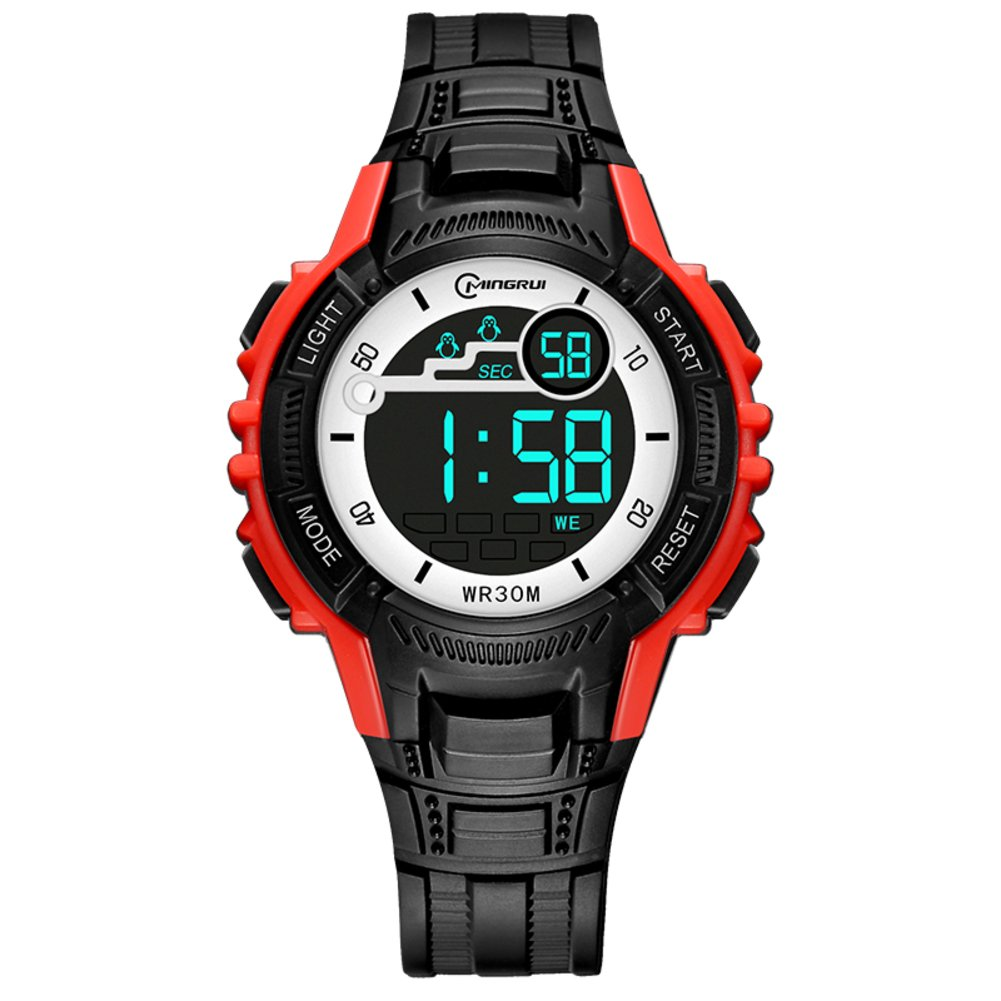 [child] Electronic watches,Chronograph stopwatch Water resistant 30 m lives Luminous 24-hour instruction Calendar Week Girl Students [movement]-E