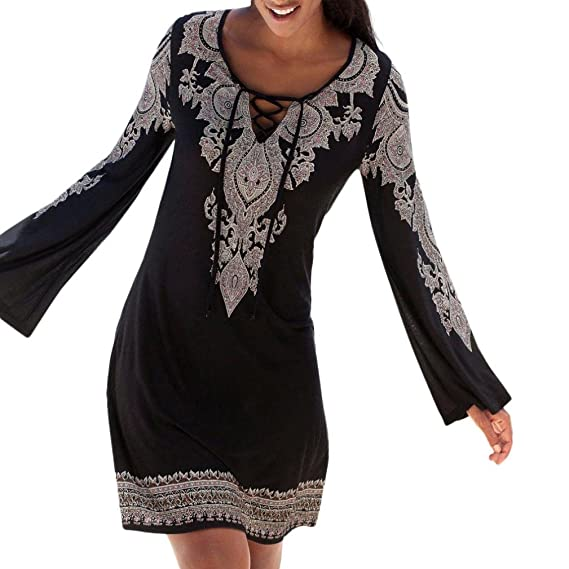 JYC Falda Larga, Vestidos Largos, Vestido Camiseta Encaje, Elegante Casual, Vestido Fiesta Mujer Largo Boda, Cabestro Cuello Boho Impresión Largo Manga Mini ...