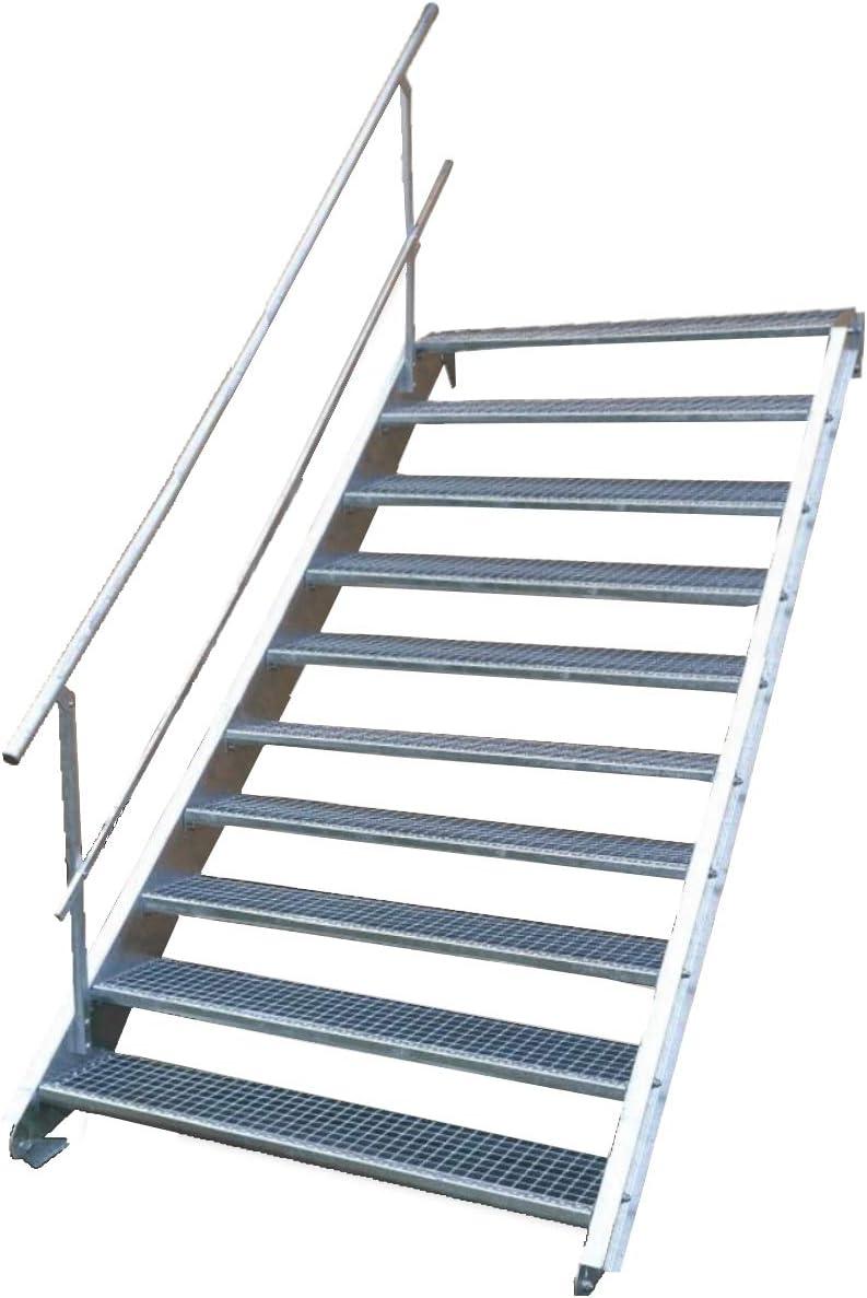 Escalera de acero industrial, escalera exterior, 10 peldaños, ancho de 140 cm, altura de planta variable 150 – 200 cm, con barandilla unilateral: Amazon.es: Bricolaje y herramientas
