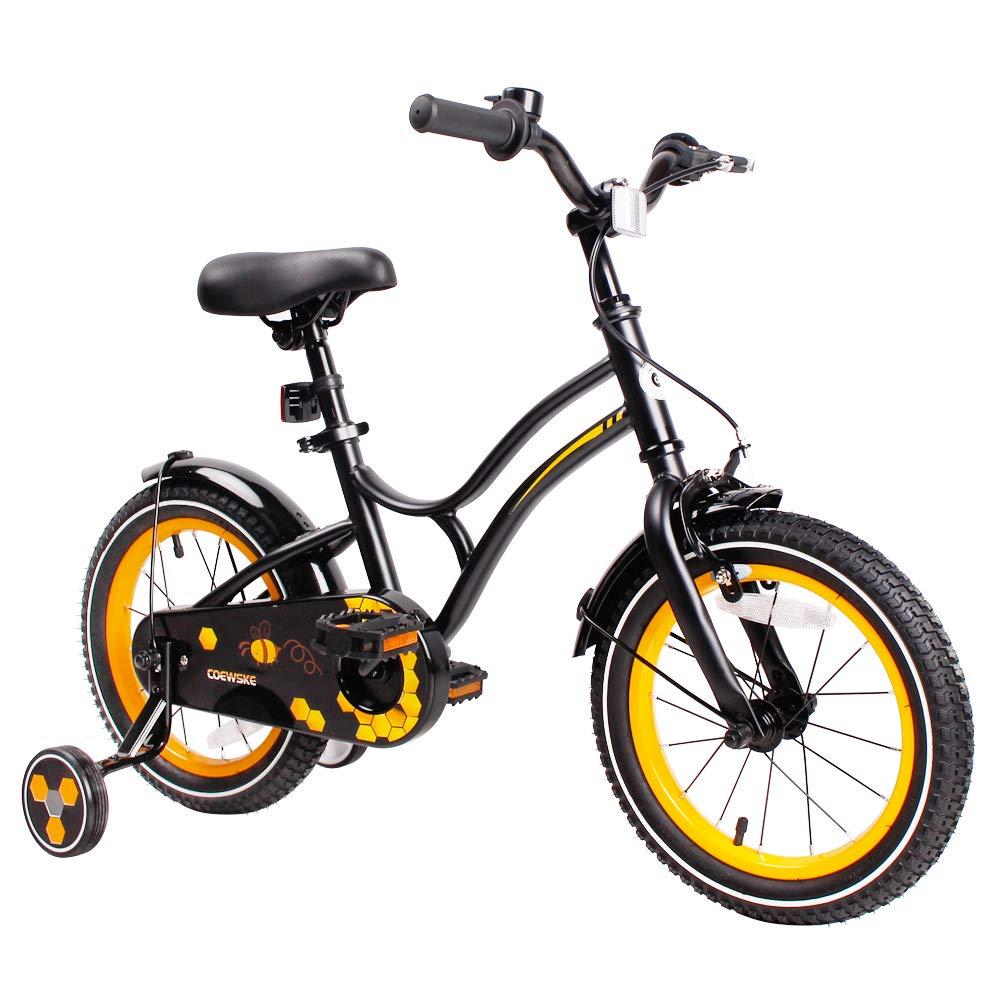 COEWSKE キッズバイクスチールフレーム 子供用自転車 14-16インチ トレーニングホイール付き 16 Inch ニューブラック B07JF1V3SP