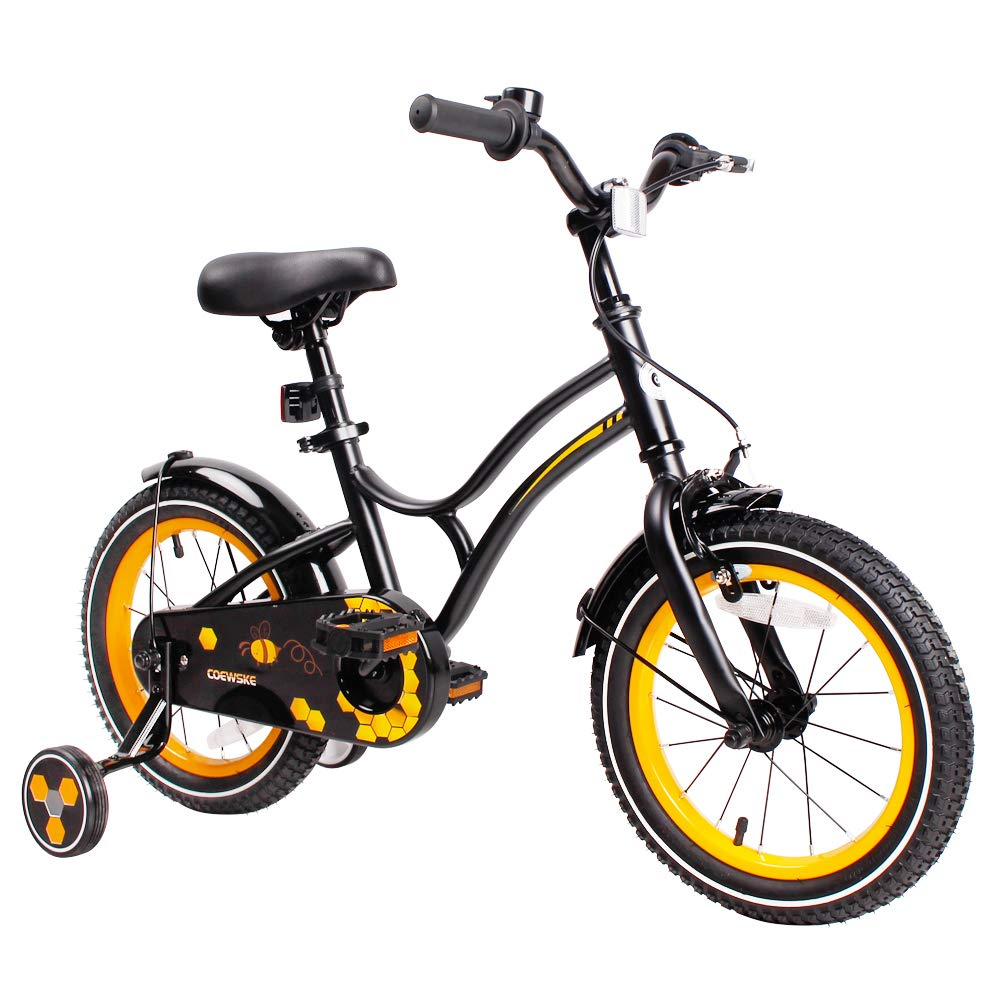 COEWSKE Kid's Bike Steel Frame Children Bicycle 14-16 Inch with Training Wheel (New Black, 16 Inch)