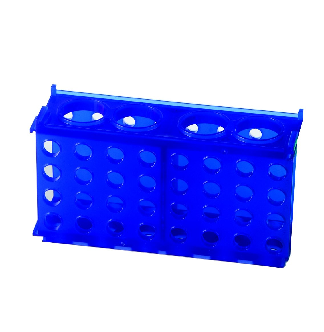 Heathrow Scientific HS29022B 4 Way Tube Rack, Polypropylene, Blue (Pack of 5) by Heathrow Scientific