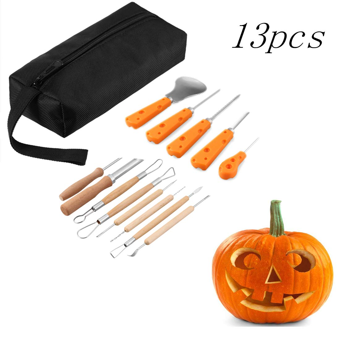 13 Piece Sturdy Stainless Steel Pumpkin Carving Tool Kit for Halloween Creative Carving Yabone