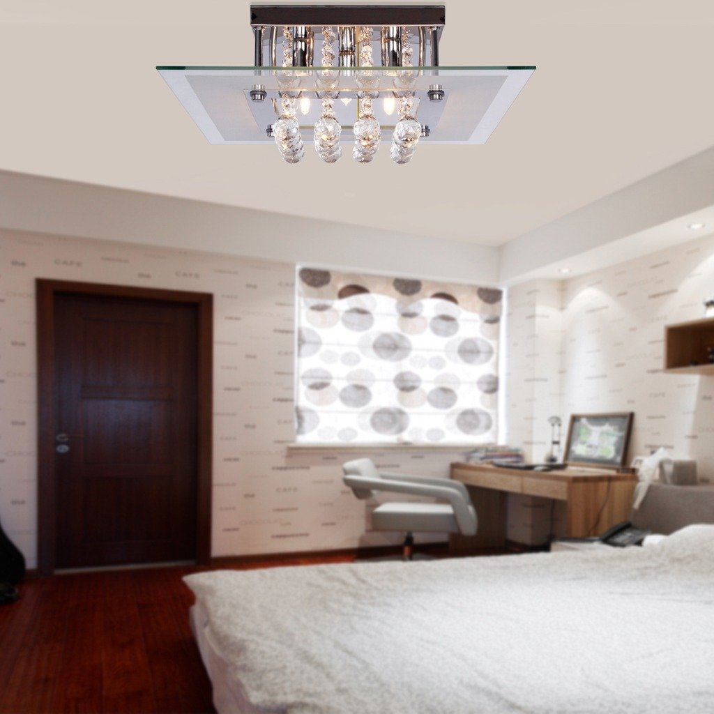 Saint mossireg modern crystal droplet rain drop chandelier flush saint mossireg modern crystal droplet rain drop chandelier flush ceiling lights for living room bedroom in square design with chrome ceiling plate aloadofball Choice Image