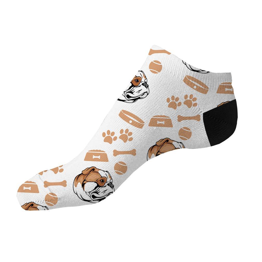 American Bulldog Dog Pattern Men-Women Adult Ankle Socks Crazy Novelty Socks