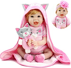 Aori Reborn Baby Dolls 22 Inch Handmade Realistic Baby Girl Doll with Kitty Hood Birthday Set for Girls Age 3