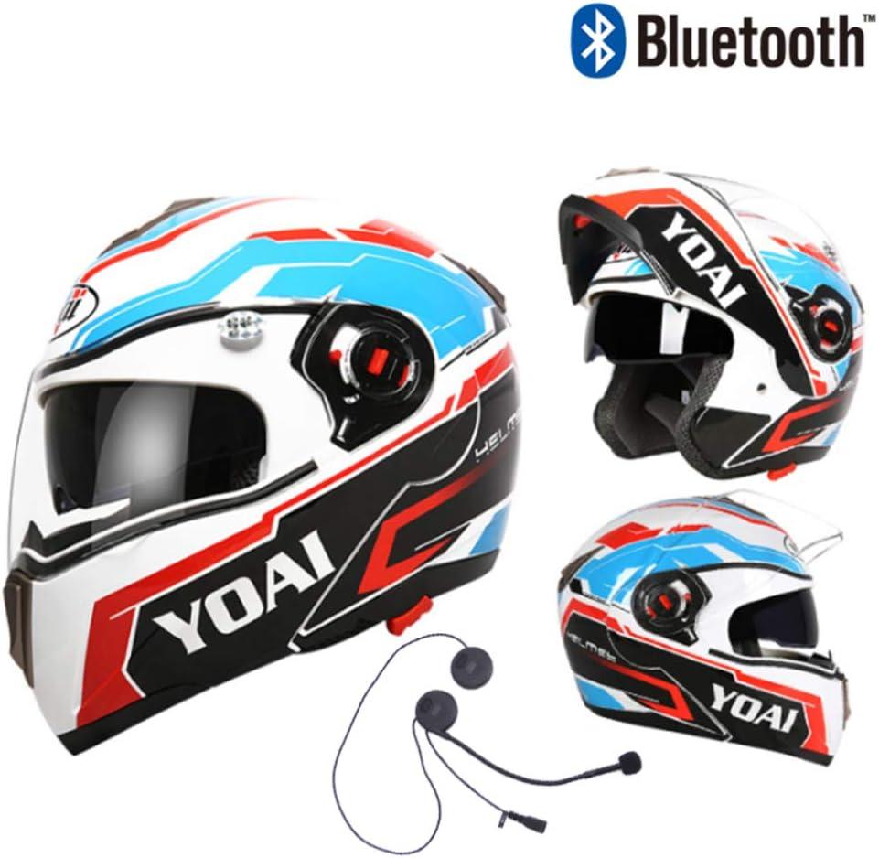 Ycyo Modularer Bluetooth Helm Für Motorräder Mit Doppelvisier Antibeschlag Doppelscheibe Motorrad Motorradhelm Mit Integriertem Headset Black Blue Xxl 60 62cm Sport Freizeit