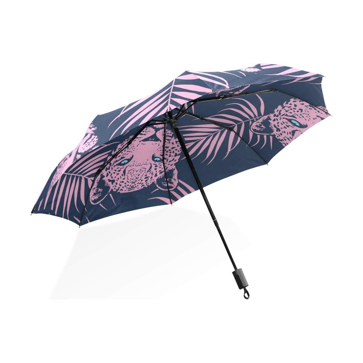Isaoa Automatique Voyage Parapluie Pliable Compact Parapluie Lovely Rose Lion Coupe-Vent Ultra léger Protection UV Parapluie pour Homme ou Femme