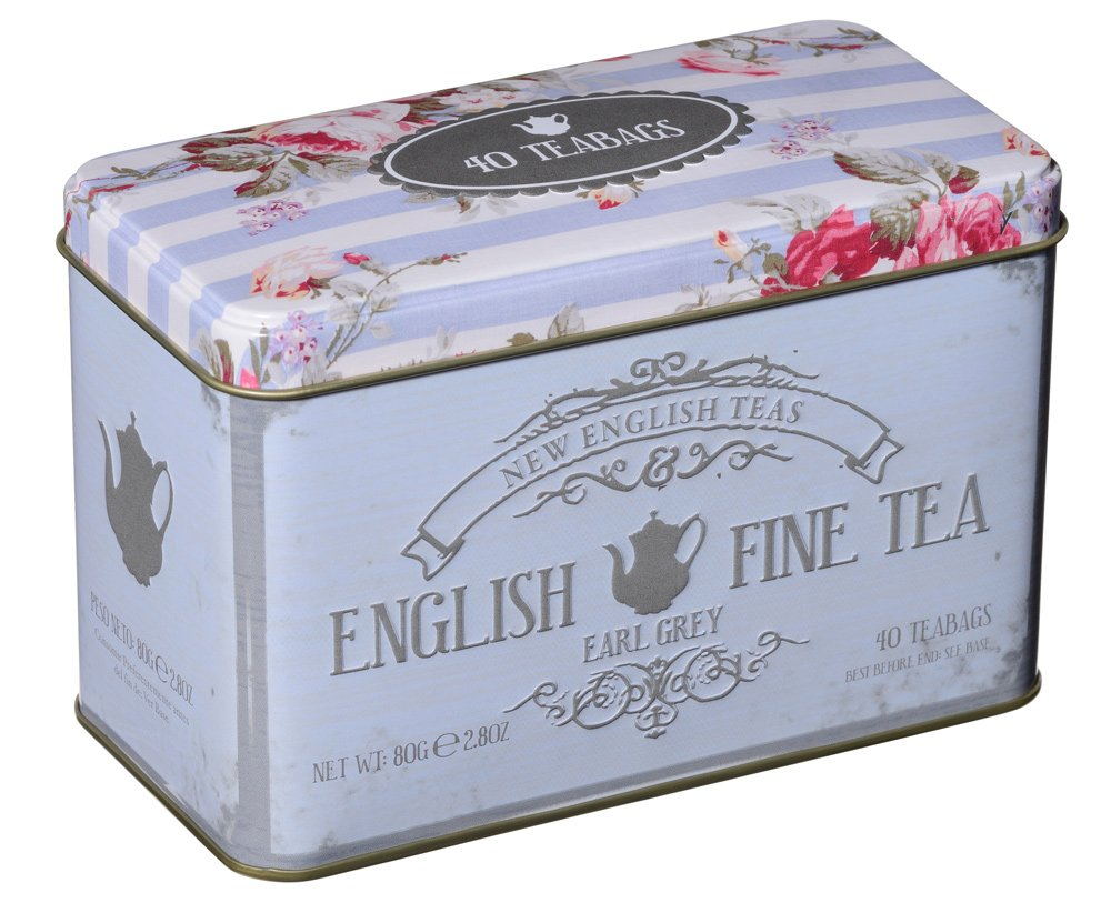 Vintage Floral Tea Tin with 40 Earl Grey Teabags