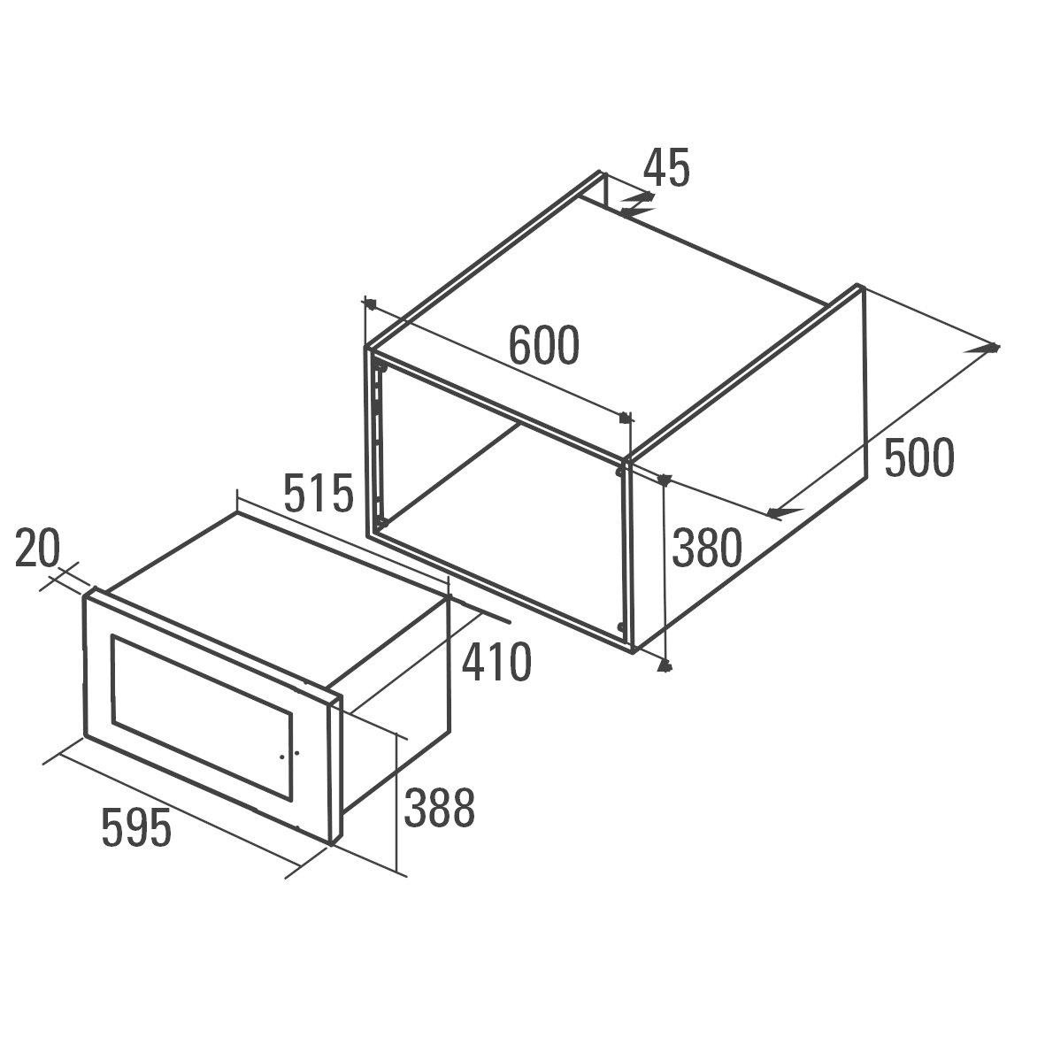 Cata | Microondas Encastrable | Modelo MC 28 D BK | Con capacidad de 28 Litros | Cinco Niveles de Potencia |Microondas con grill simultáneo de Cuarzo ...