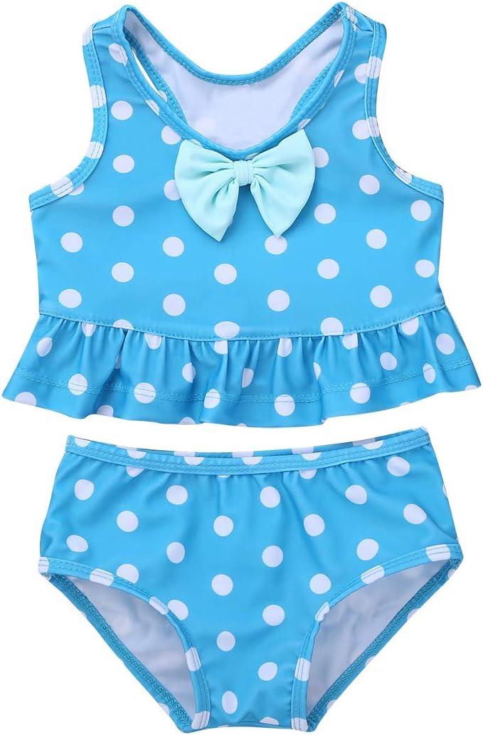 TiaoBug Baby Girls Two Piece Swimsuit Polka Dot Ruffles
