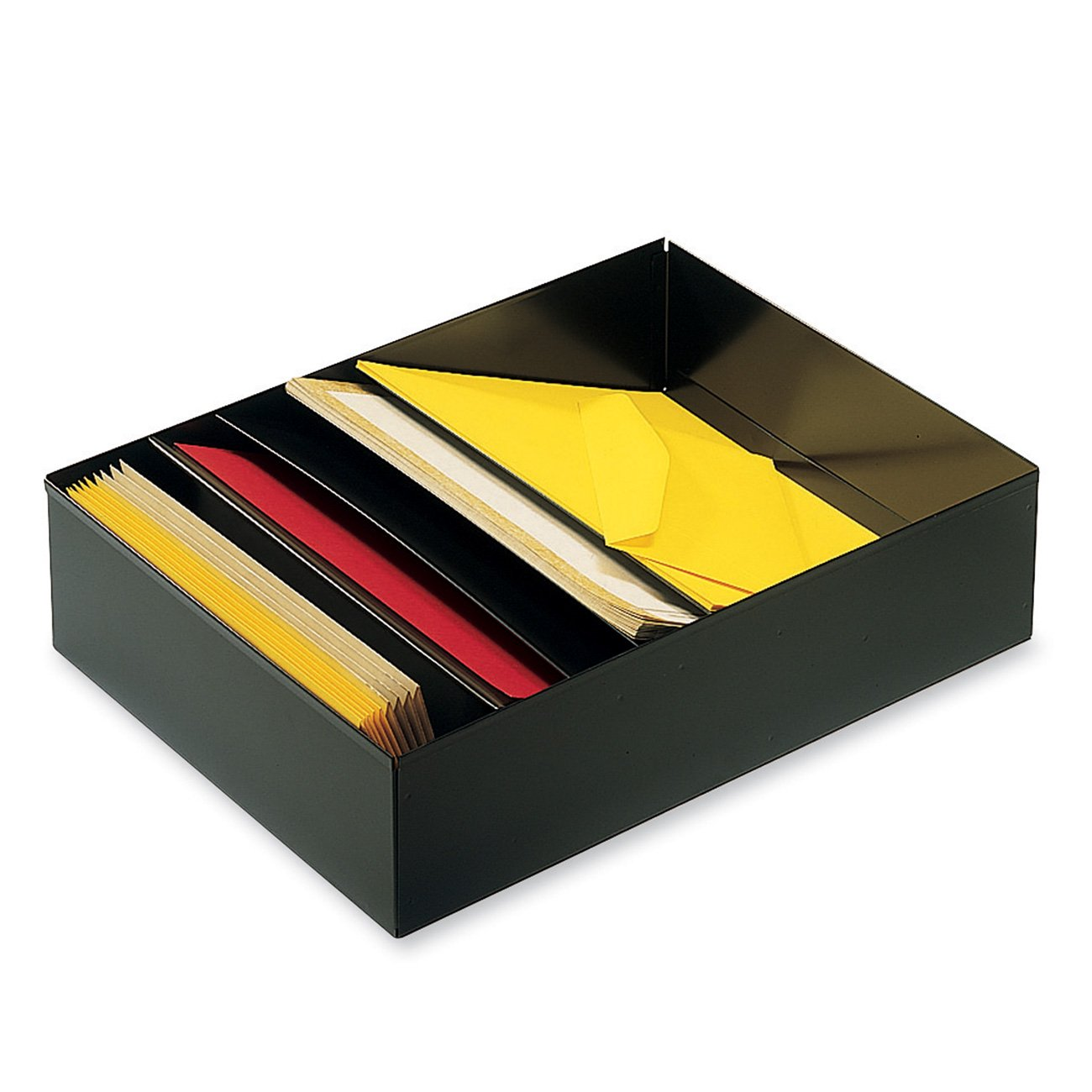 STEELMASTER 5-Compartment Desk Drawer Stationery Holder, 11.38 x 3.75 x 21 Inches, Black (2712SBK)