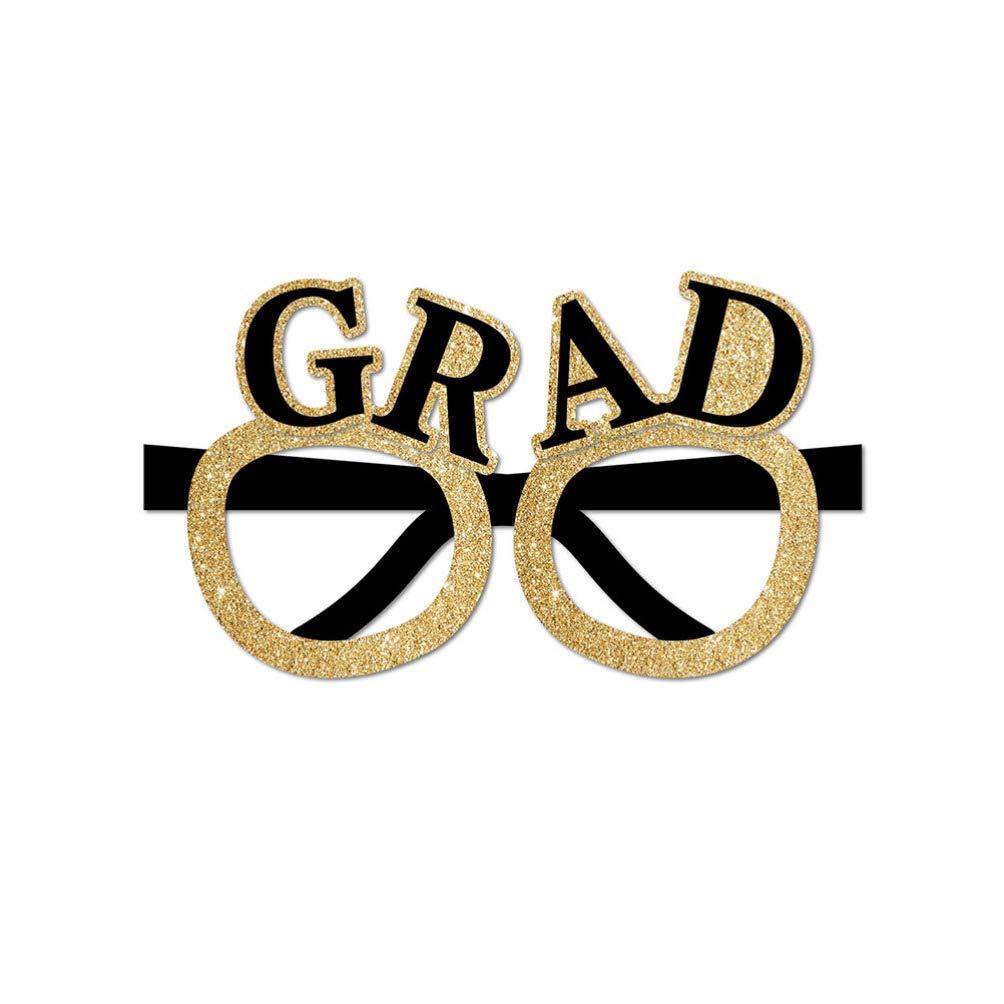 Amosfun Graduation Eyeglasses 2020 Glitter Grad Glasses Frame Fancy Decorative Eyeglasses Celebration Congrats Party Favor for Graduation Party Decorations 12 PCS