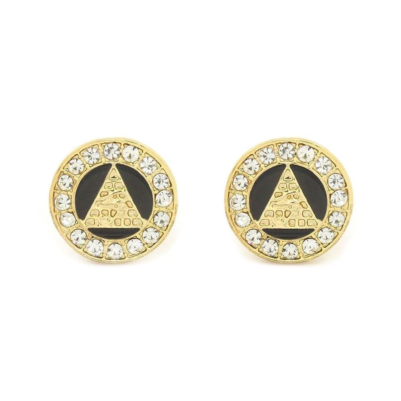 POPLife Eye Of Horus Egypt Pyramid Earrings 10Mm Golden Tone With Black Medallion Shaped