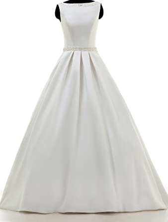 ae91885f87a66 Cahayi Vintage Bateau Sequins Sleeveless Wedding Gowns Bridal Dress with  Bowknot at Amazon Women's Clothing store: