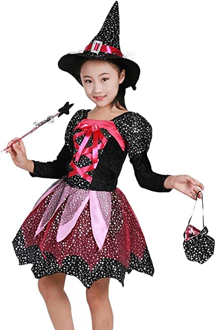Childrens Girls Lil Witch Halloween Party Costume Fancy Dress Outfit