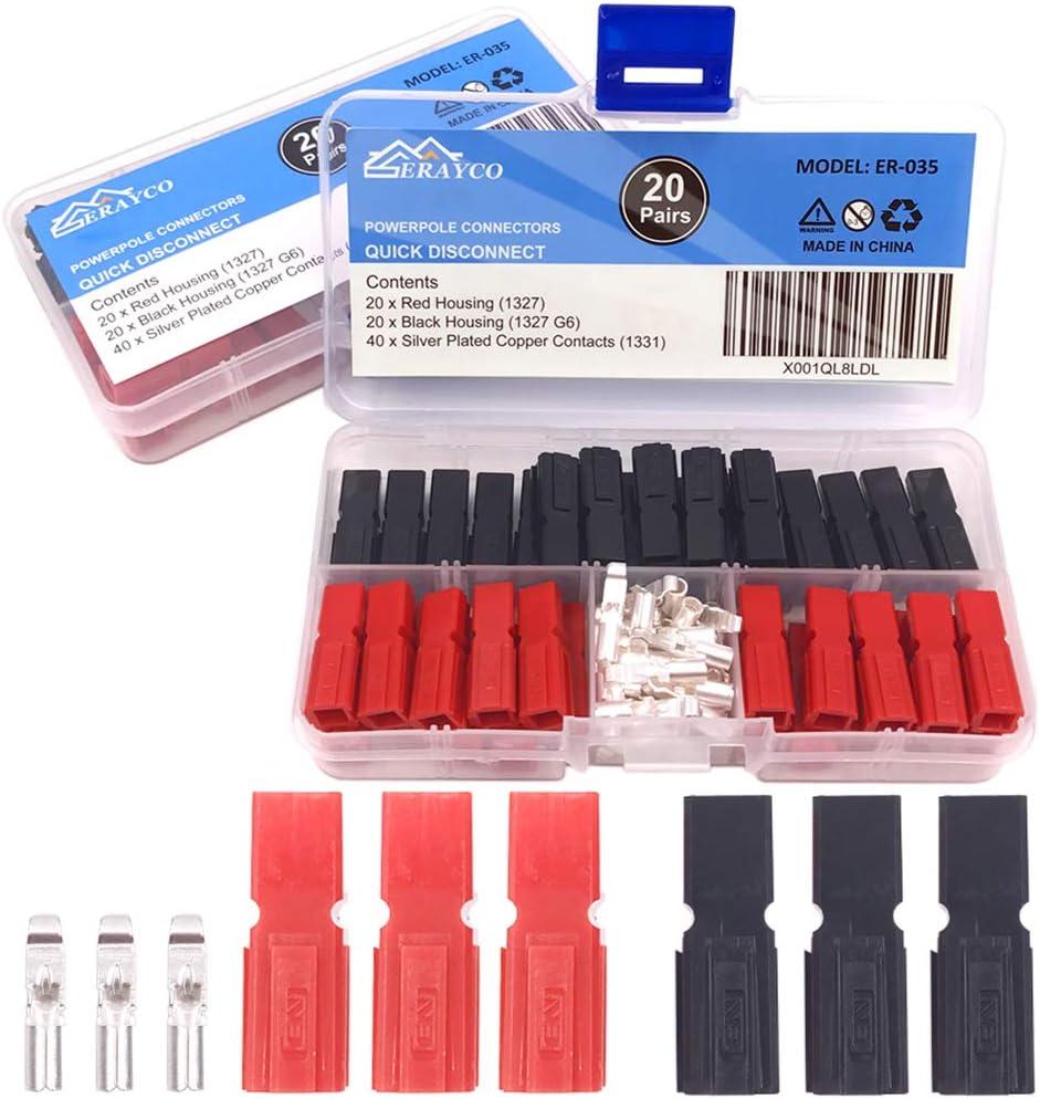 Red Black Quick Connect Battery Connector Modular Power Connectors Set/… Zixtec 20 Pair 30AMP Quick Disconnect Power Terminals Connectors