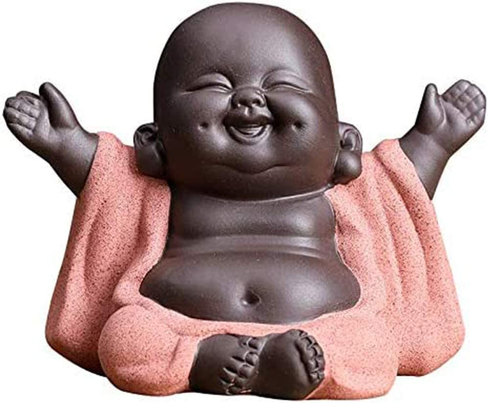 Little Buddha Statue Figurine Ceramic Laughing Cute Baby Buddha Chinese Delicate Ceramic Arts Tea Set Accessories For Home Office Car Decor Medium Home Kitchen Amazon Com
