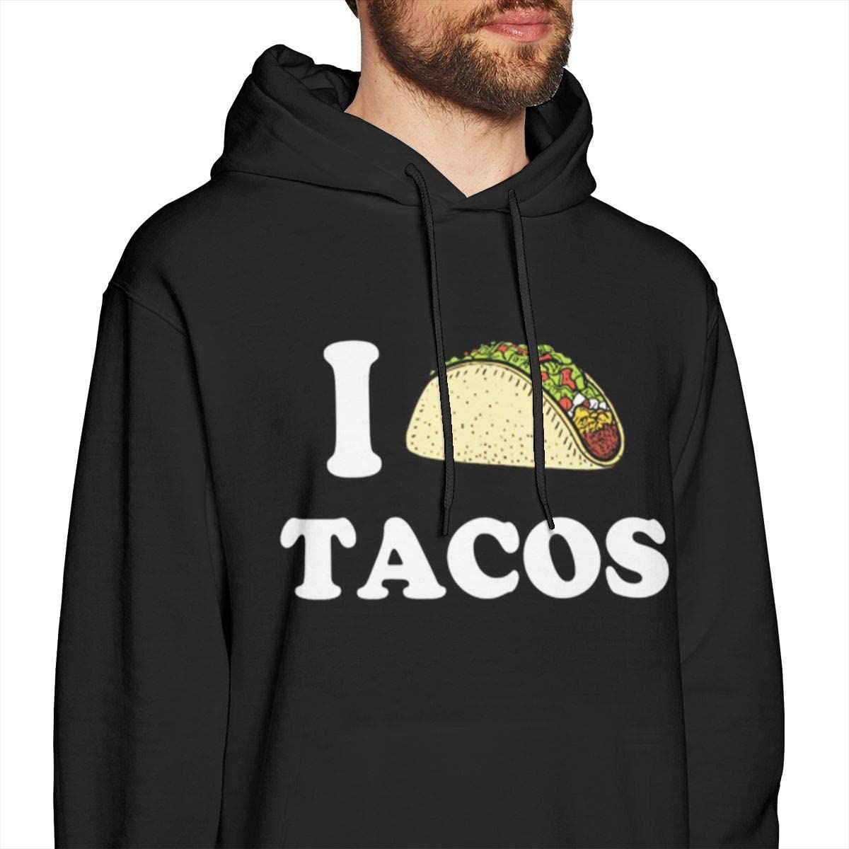 Yearzimn Men Hooded Sweatshirt Comfort I Love Tacos Design Tops Blouse with Hat
