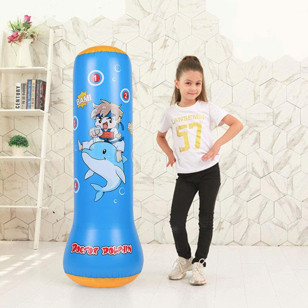 Inflatable Punching Bag for Kids - Free Standing Boxing Bag for Immediate Bounce Back Heavy Punching Bag for Practicing Karate, Taekwondo, MMA Bop Bag for Children Age 5+ : Sports & Outdoors