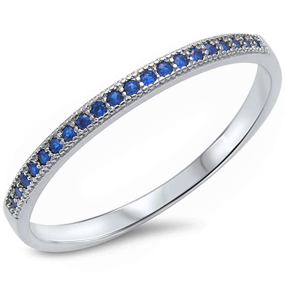 Simulated Blue Sapphire Eternity Style Band .925 Sterling Silver Ring Sizes 5