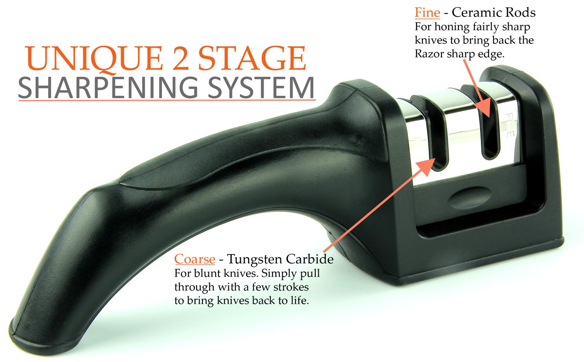 Harcas Knife Sharpener - Professional 2 Stage Sharpening System.