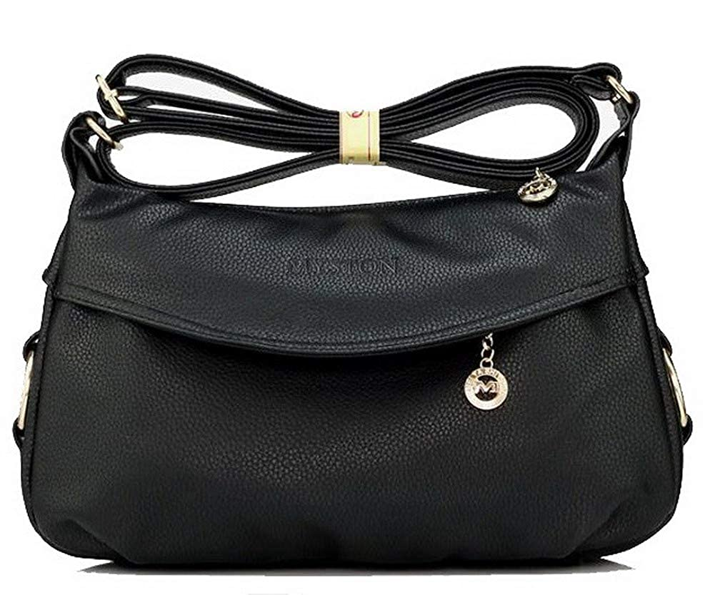 Black WeiPoot Women's Fashion Bags Pu Zippers Crossbody Bags,EGHBG182341