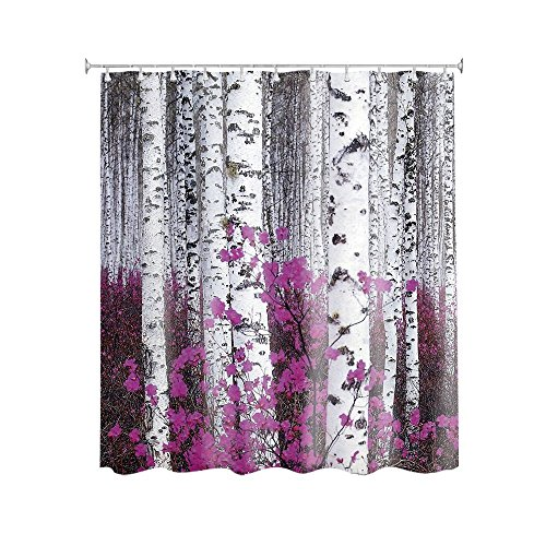 Purple Flowers Birch Tree Customize Waterproof Polyester Fabric Bathroom Shower Curtain 66*72 Inch (Clearance Curtains Shower)